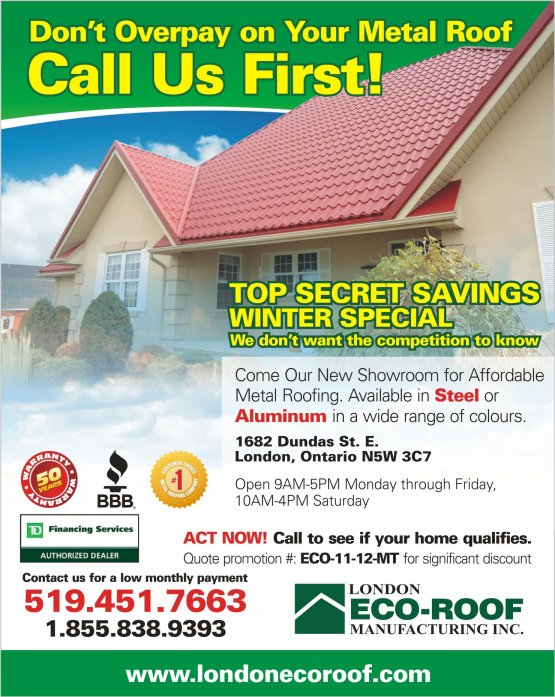 Metal Roof Winter Installation Special